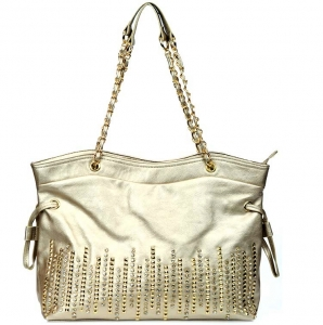 Designer Inspired Faux Leather Handbag w/ Rhinestone And Stud Decor