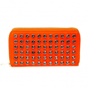 Hot Double Zipper Entry Faux Leather Wallet w/ Rhinestone Decoration and Wrislet Handle