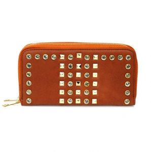 Modern Double Zipper Entry Wallet w/ Stud And Rhinestone Accent