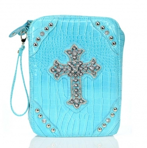 Designer Inspired Fuax Crocodile Skin Bible Cover w/ Cross & Rhinestone Accent.
