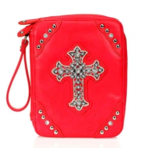 Designer Inspired Fuax Leather Skin Bible Cover w/ Cross & Rhinestone Accent.