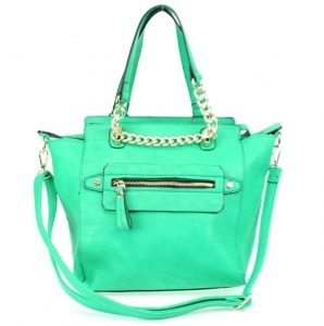 Faux Leather Handbag with Gold Chain Accent - Green