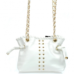 Chic Stylish Small Faux Leather Crossbody Handbag w/ Gold Tone Studs and Rhinestone Accent.