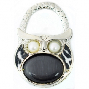 Owl GemTable Handbag Hook- Black
