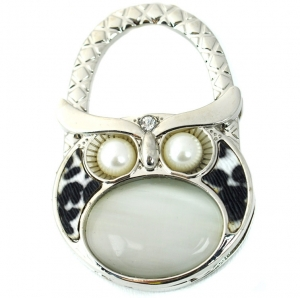 Owl Gem Table Handbag Hook- White