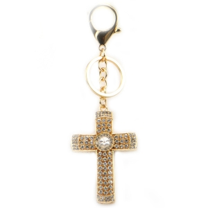 Jeweled Cross Key Chain X26 27377 GOLD