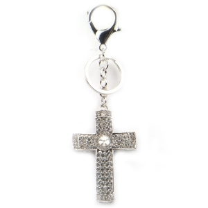 Jeweled Cross Key Chain X26 27377 SILVER
