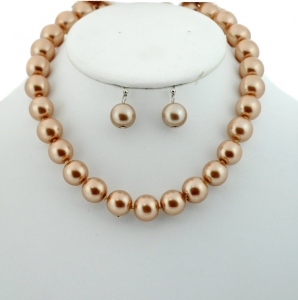 Necklace and Earring Combo 27379 X26 Brown