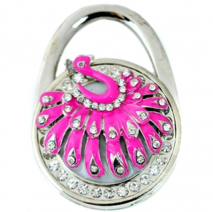 Peacock Rhinestone Table Handbag Hook- Pink