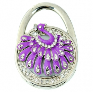 Peacock Rhinestone Table Handbag Hook- Purple
