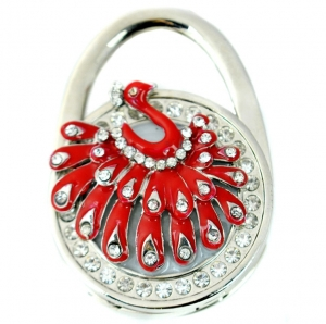 Peacock Rhinestone Table Handbag Hook- Red