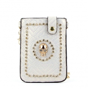 Designer Inspired Fashion Crossbody Bag w/ Skull Accent and Rhinestone Decor.