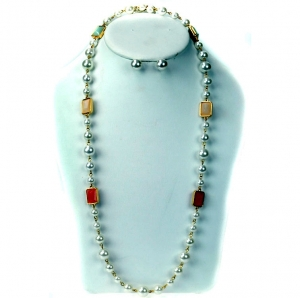 Faux Peral Necklace & Earring Set with Gems- Multi