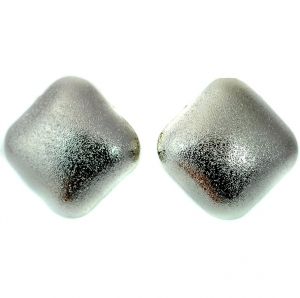 Large Square Earring Studs with Distressed Imprint - Silver