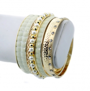 Fashion Gold Tone Bangle Bracelets with Rhinestone and Pearl Accent- White