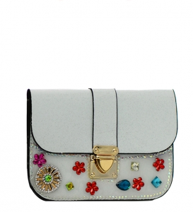 Rhinestone embellished Clutch Purse H16001 27654 White.