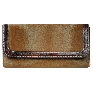 Faux Horse Leather Trifold Wallet with Ombre Trim - Brown