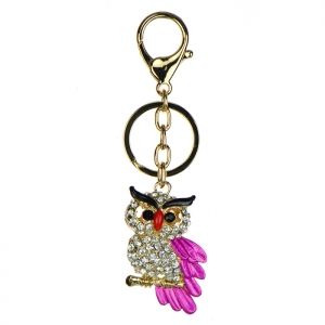 Rhinestone Owl Keychain - Pink and Gold
