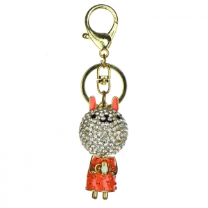 Rhinestone Bunny Keychain - Orange and Gold
