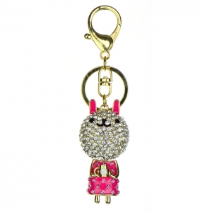 Rhinestone Bunny Keychain - Pink and Gold
