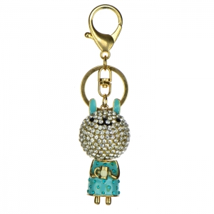 Rhinestone Bunny Keychain - Turquoise and Gold