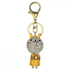Rhinestone Bunny Keychain - Yellow and Gold