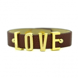 Love Faux Leather Wristband with Snap Button - Brown and Gold