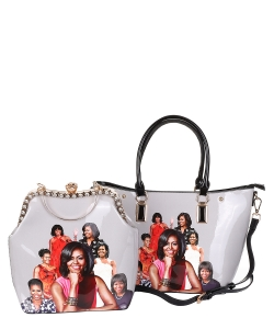2 in 1 Michelle Obama and African American Icons Style Handbags Collection 28-ML6121 BLACK