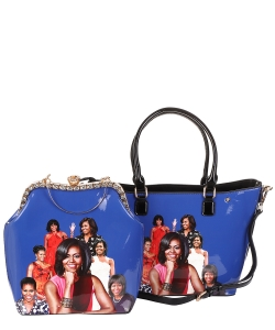 2 in 1 Michelle Obama and African American Icons Style Handbags Collection 28-ML6121 BLUE