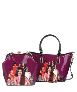 2 in 1 Michelle Obama and African American Icons Style Handbags Collection 28-ML6121 PURPLE