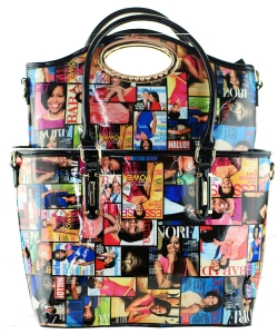 2 in one Fashion Magazine Print Faux Patent Leather Handbag With Gold Embellishments 28-MP3612 MULTI