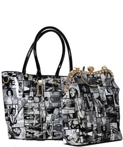 Fashion Magazine Print Faux Patent Leather Handbag With Gold Embellishments 28 Mp3613