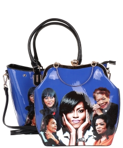 2 in 1 Michelle Obama and African American Icons Style Handbags Collection 28-MQ6210 BLUE