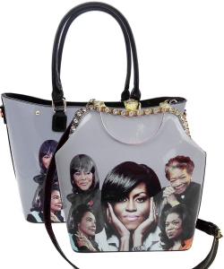 2 in 1 Michelle Obama and African American Icons Style Handbags Collection 28-MQ6210 BLACK