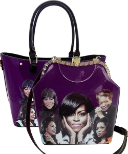 2 in 1 Michelle Obama and African American Icons Style Handbags Collection 28-MQ6210 PURPLE