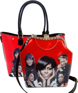 2 in 1 Michelle Obama and African American Icons Style Handbags Collection 28-MQ6210 RED