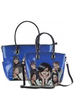 2 in 1 Michelle Obama and African American Icons Style Handbags Collection 28-MQ6230 BLUE