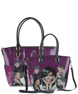 2 in 1 Michelle Obama and African American Icons Style Handbags Collection 28-MQ6230 PURPLE