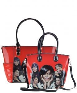 2 in 1 Michelle Obama and African American Icons Style Handbags Collection 28-MQ6230 RED