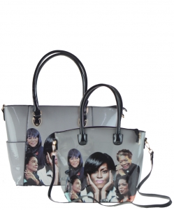 2 in 1 Michelle Obama and African American Icons Style Handbags Collection 28-MQ6230 BLACK
