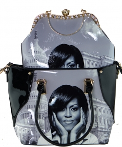 2 in one Fashion Magazine Print Faux Patent Leather Handbag With Gold Embellishments 28-MS7211 BLACK