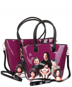Michelle Obama and African American Icons Style Handbags Collection 28-MT6212 PURPLE