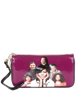 Michelle and African American Women Icons Wallet Collection 28-MT8811 PURPLE