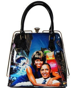 Fashion Magazine Print Faux Patent Leather Handbag With Gold Embellishments  28-PB9205 MULTI