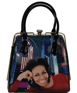 Michelle Obama Fashion Magazine Print Faux Patent Leather Handbag With Gold Embellishments