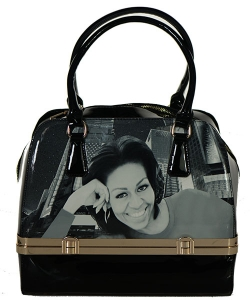 Fashion Magazine Print Faux Patent Leather Handbag With Gold Embellishments