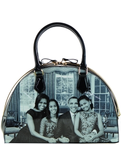 Frame Michelle Obama Fashion  Magazine Print Faux Patent Leather Handbag With Gold Embellishments 28-WW7204 BLACK