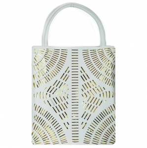 Faux Leather Laser Cut Tote Bag w/ Gold-tone Decor- White