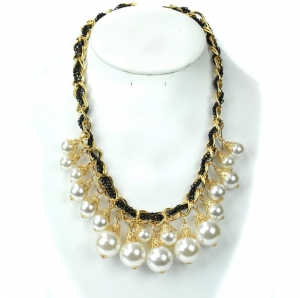 Chain Faux Pearl Gold Tone Necklace with Ribbon- White