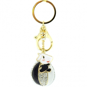 Rhinestone Beach Ball Keychain- Black
